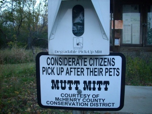 I didn't see this at the other trail!  Free Mutt Mitts!