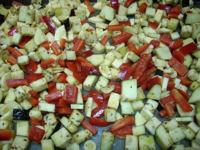 veggies after their oil/seasoning bath