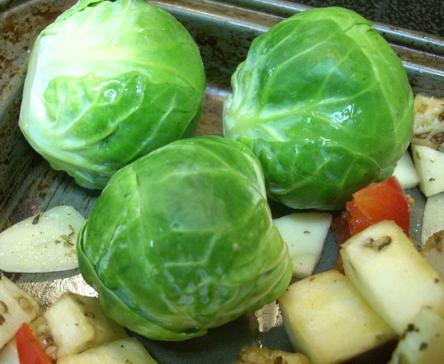 as a side note, I bought three brussel sprouts and threw them on the tray to roast - I actually liked them!