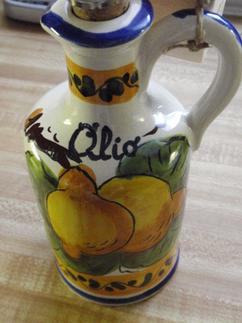 an olive oil pitcher