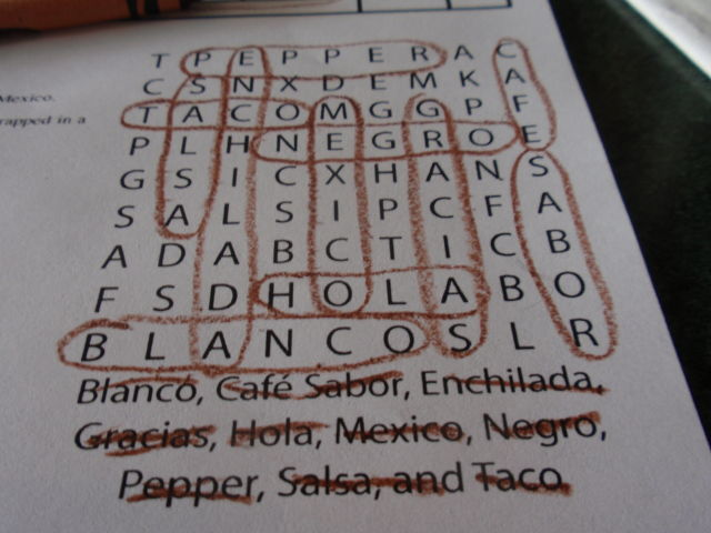 I kicked butt on the kids menu word search!
