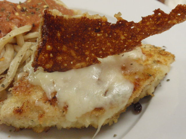 I had a 4 ounce piece of chicken parmesan - love the crunchy mozzarella chip!