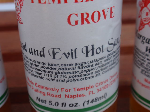 Good and Evil Hot Sauce - orange juice and jalapeno puree!