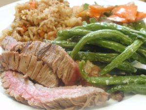 My plate: 3 ounces steak, 3 ounces green beans, 3 ounces shrimp fried rice and 3 ounces carrots/peapods