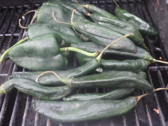 I have no idea what kind of peppers these are - my guess is the bigger ones are poblanos and the smaller ones are anaheim??