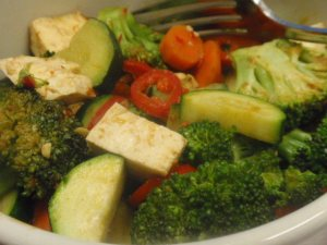 1/4 package tofu, 4 ounces broccoli, 3 ounces zucchini, 2 ounces carrot, 1.5 tablespoons sauce