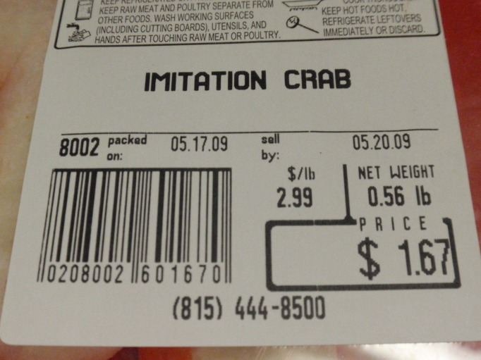 you can see by the price why I used fake crab!