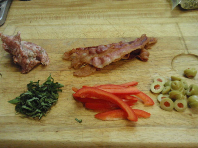 I had all the red pepper, 1/4 of the sausage and 1 slice of bacon - and fresh basil!