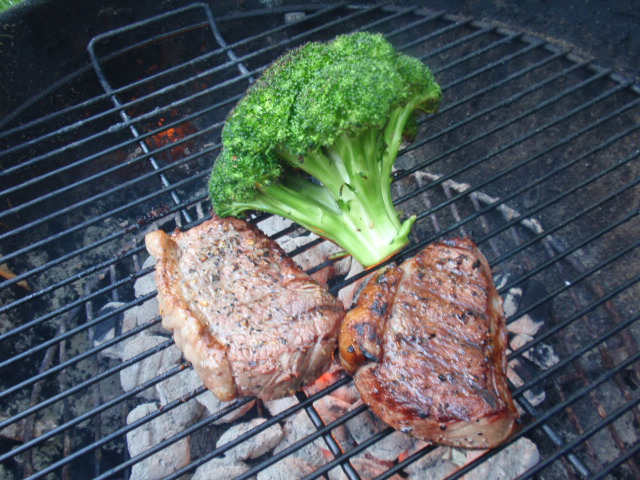 I put the steaks and the broccoli on at the same time