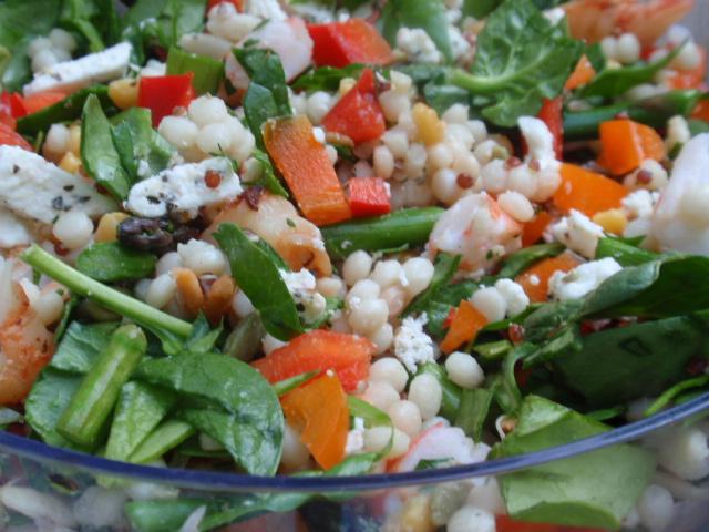 shrimp salad with jalapeno honey lime dressing - YUM!