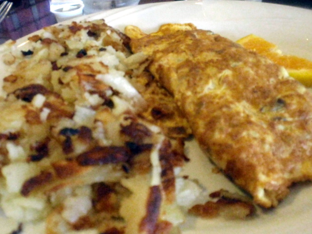 I ate all the omelet, 1 piece of toast, 1/4 of the potatoes - my guess is around 475 calories, 23 fat and 36 carbs