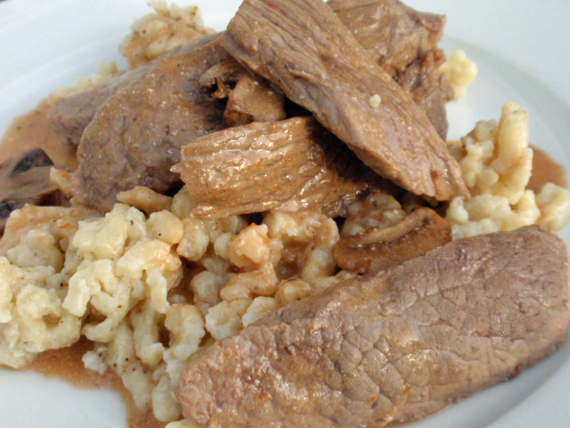 Beef Stroganoff With Peppered Spaetzle Recipe — Dishmaps