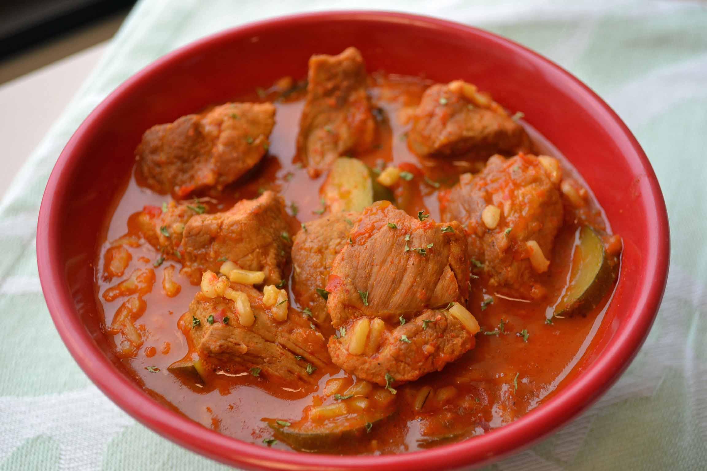 Spicy Pork Stew with Zucchini | My Bizzy Kitchen
